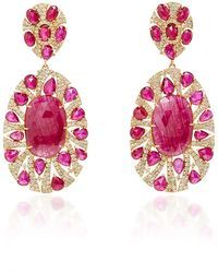 Sutra   Ruby And Diamond Earrings  