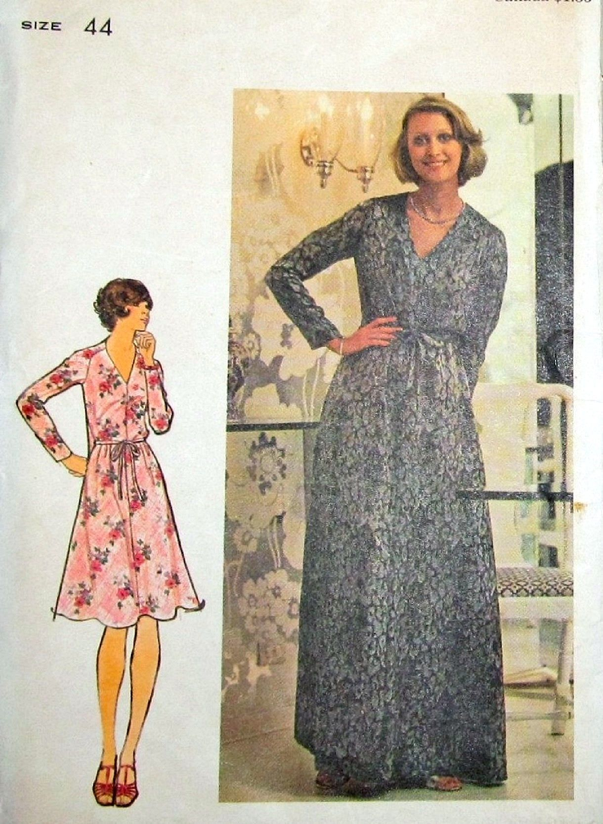 Easy vintage 1980s sewing pattern butterick 3973 maxi dress with easy vintage 1980s sewing pattern butterick 3973 maxi dress with long raglan sleeves v jeuxipadfo Images