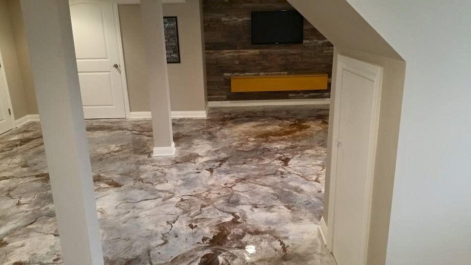 Interior concrete basement floor epoxy reflector metallic ...