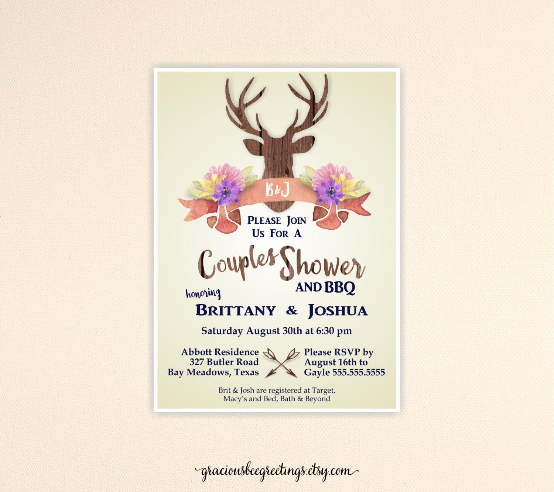 Couples Wedding Shower Invitation, Buck Bridal Shower Invite ...