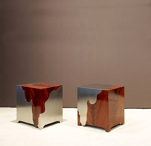 Paire de Chevets, 2005, by Maria Pergay  Stainless steel and mahogany