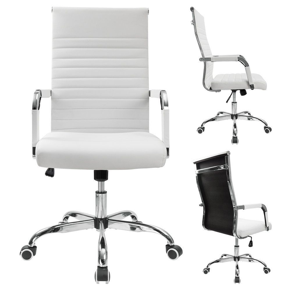 Chair adjustable swivel chair with arms white