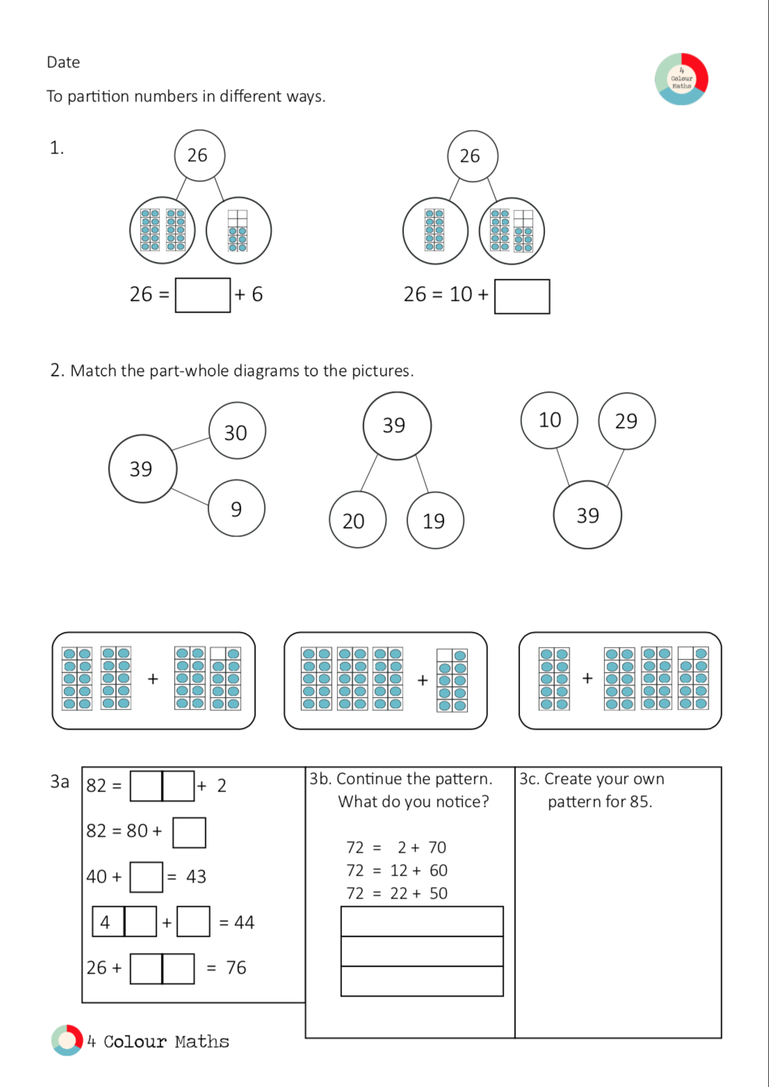 Year 2 Place Value Partition Numbers Into Tens And Ones Place Values 2nd Grade Math Worksheets Math Coloring