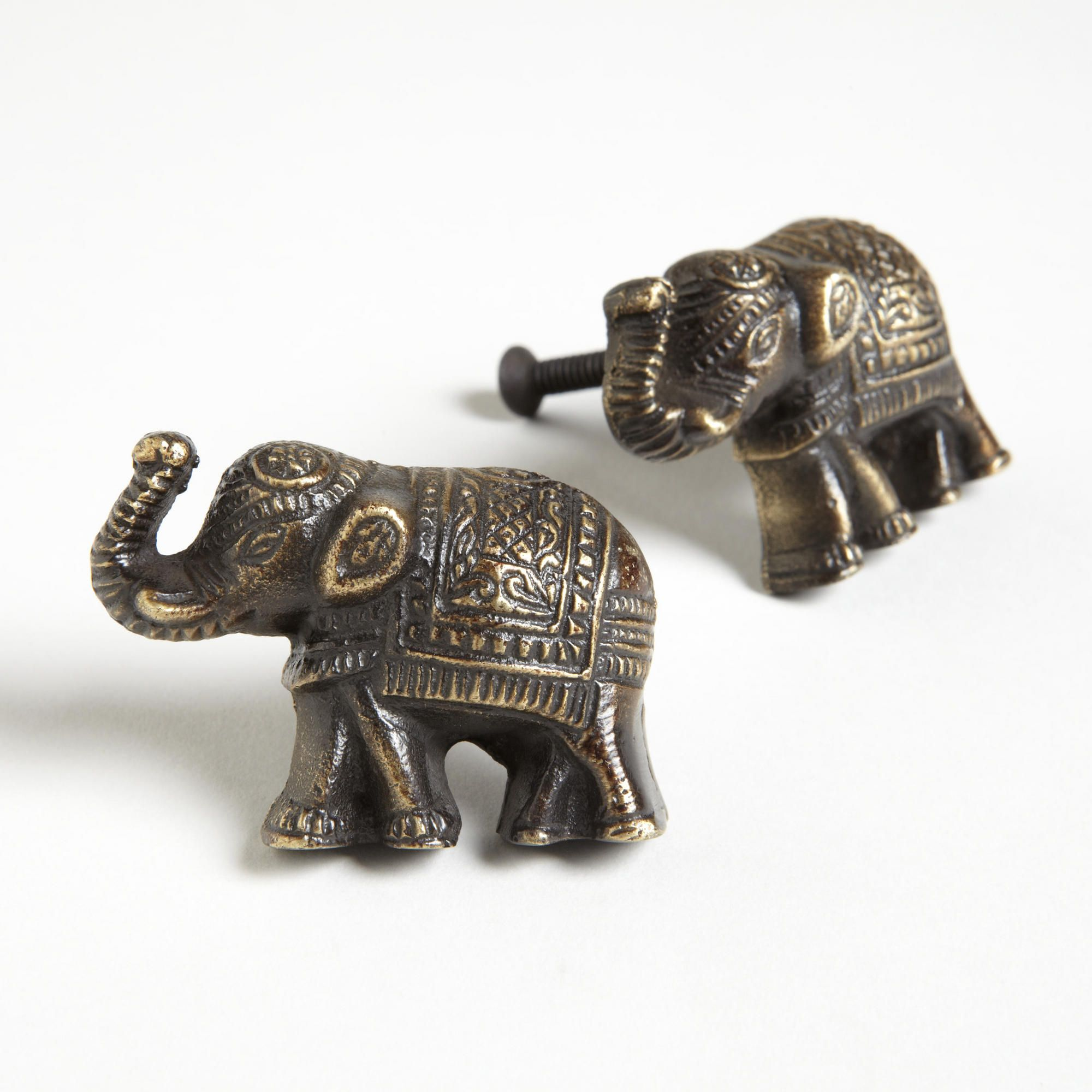 Antique Brass Elephant Knobs Set of 2