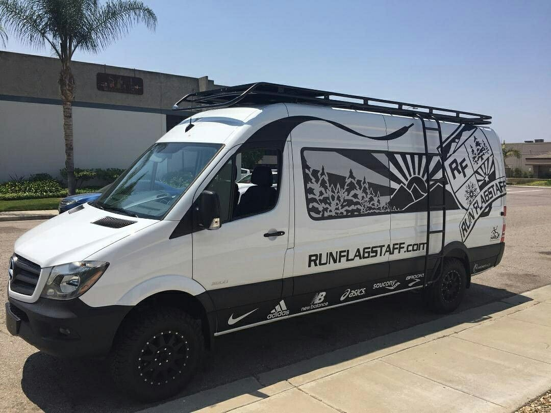Aluminess Roof Rack And Ladder On Run Flagstaff S Company Van Ford Transit Roof Rack Roof Rack Sprinter
