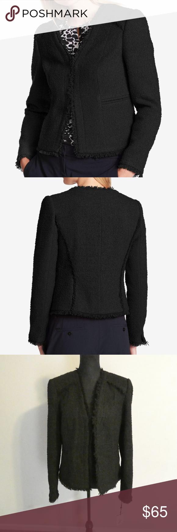 DKNY Fringe-Trim Textured Blazer