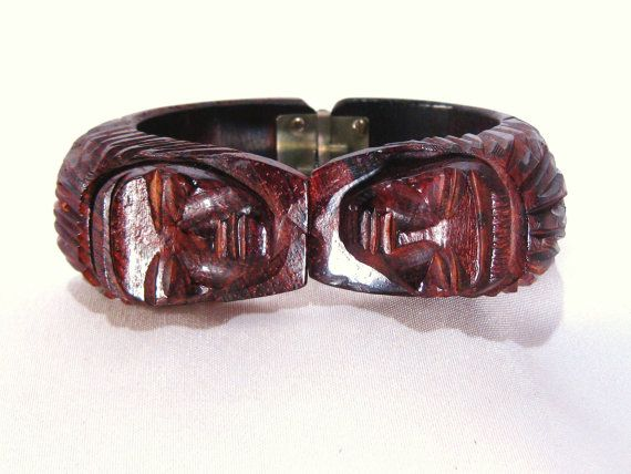 Vintage Cuff Bracelet  Wood  Tribal  Hand Carved by VintiqueJools, $32.00