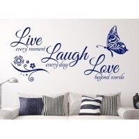 This fantasticLive Laugh Lovewall art stickeris perfect for any room of the house.Our wall stickers are precision cut from high