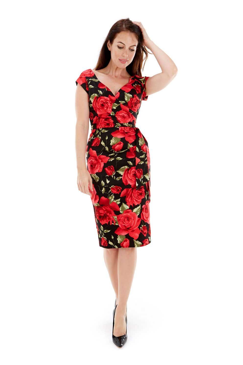 Sorrento Red Rose Hourglass Black Pencil Dress | Frocks ...