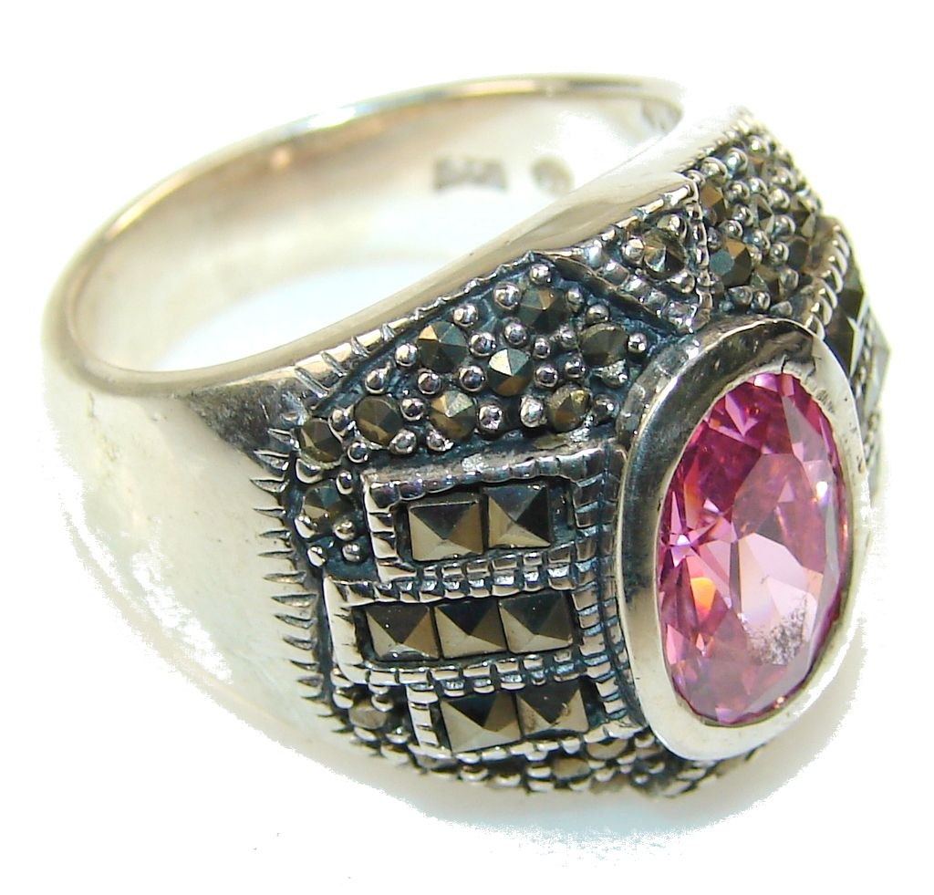 $51.25 Beautiful Pink Quartz Sterling Silver ring s. 8 at www.SilverRushStyle.com #ring #handmade #jewelry #silver #quartz