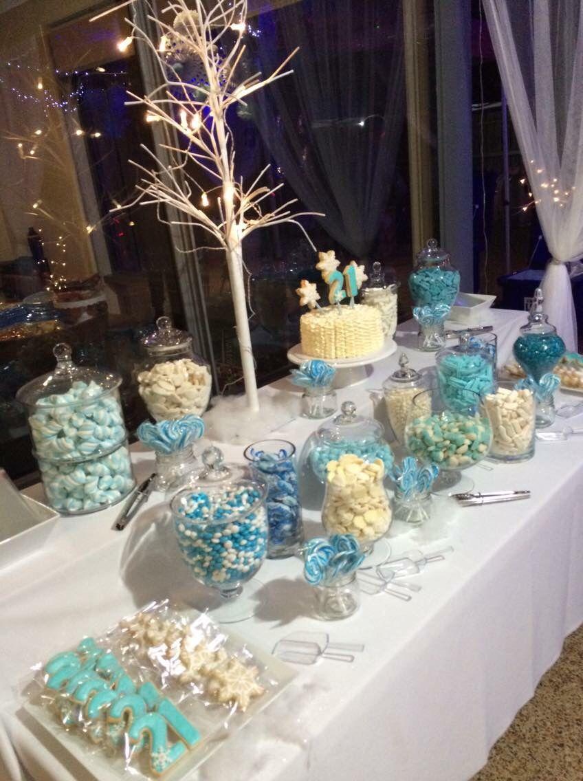 Winter Wonderland 21st Birthday Party Lolly Buffet