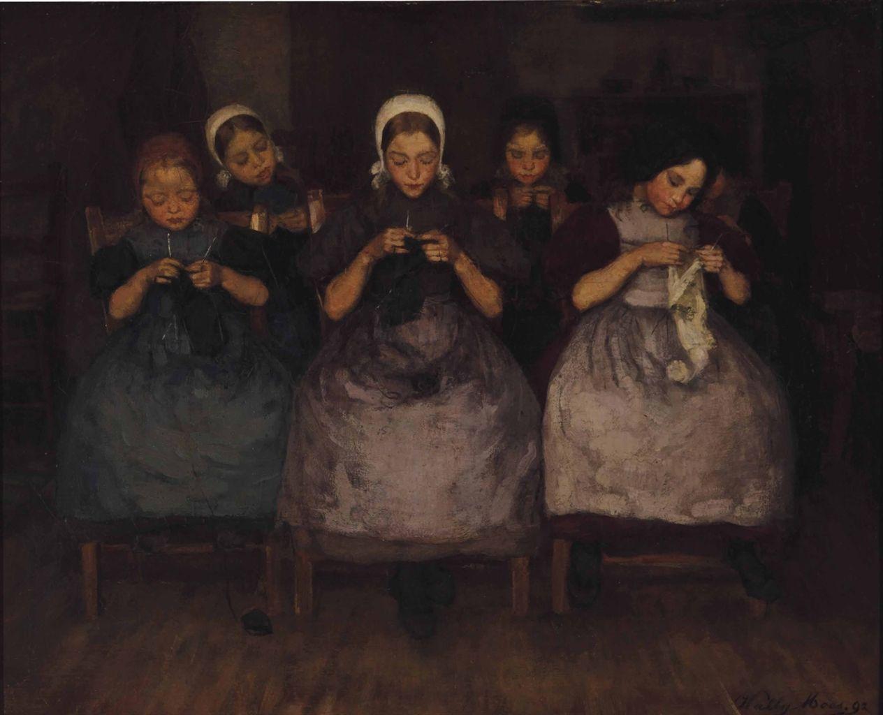 WALLY MOES (DUTCH, 1856-1918) A KNITTING CLASS