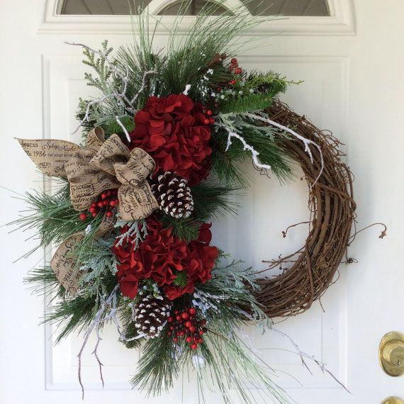 Christmas Wreath-Winter Wreath-Holiday Hydrangea Wreath-Designer Wreath-Snowy  Wreath-Traditional Wreath-Berry Wreath This beautiful, sophisticated