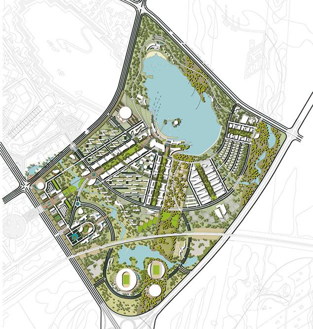 Karamay University Town Master Plan Master Plan Landscape Plans University Plan