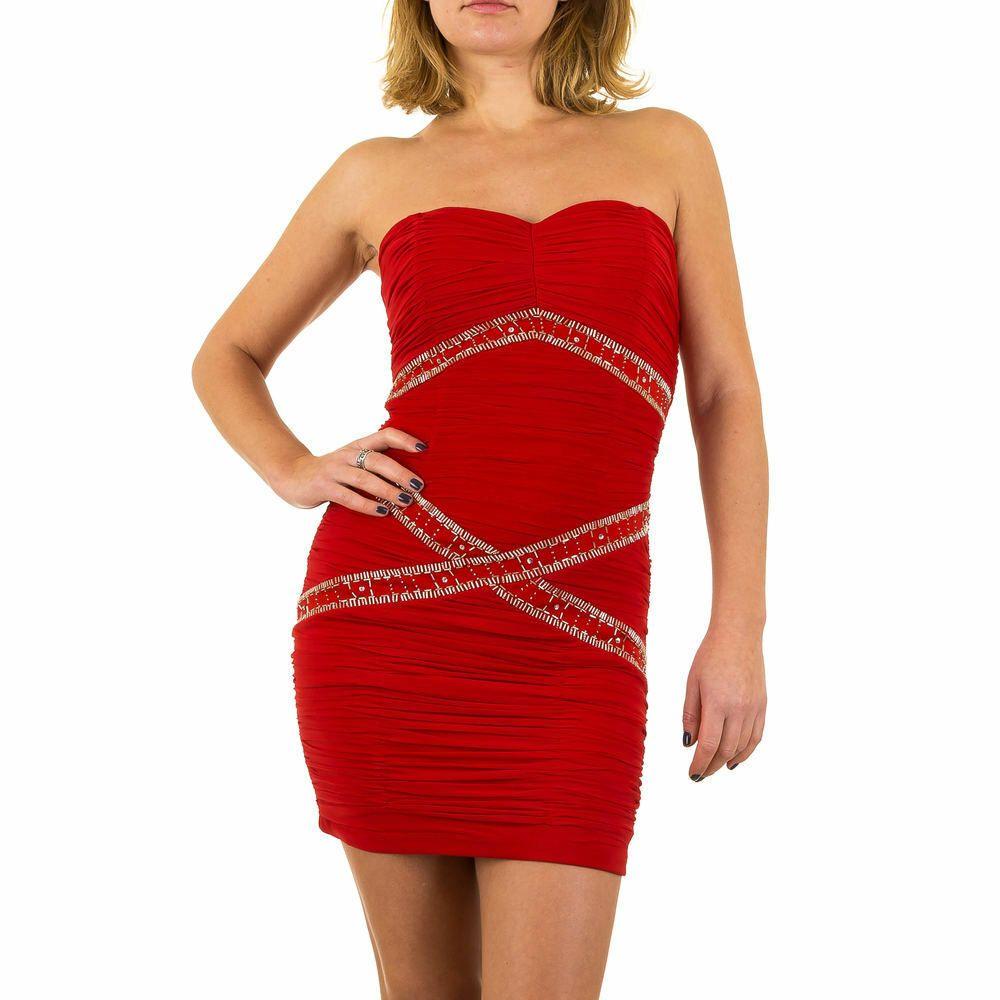 details zu kurzes damen kleid 36 rot 3657 | rotes kleid