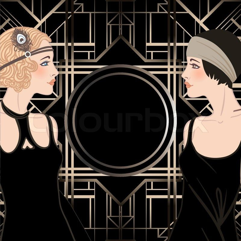 Flapper girl: Retro party invitation design. Vector illustration. | Vector | Colourbox on Colourbox