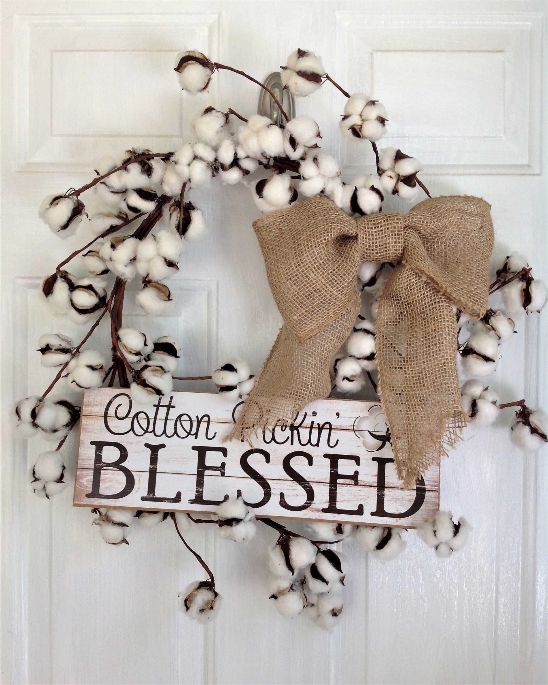 Cotton Wreath Farmhouse Wreath Country Wreath Fall Wreath Burlap Wreath Everyday Wreath Rustic Wreath Farmhouse Decor Country Decor With Images Cotton Wreath Burlap Wreath