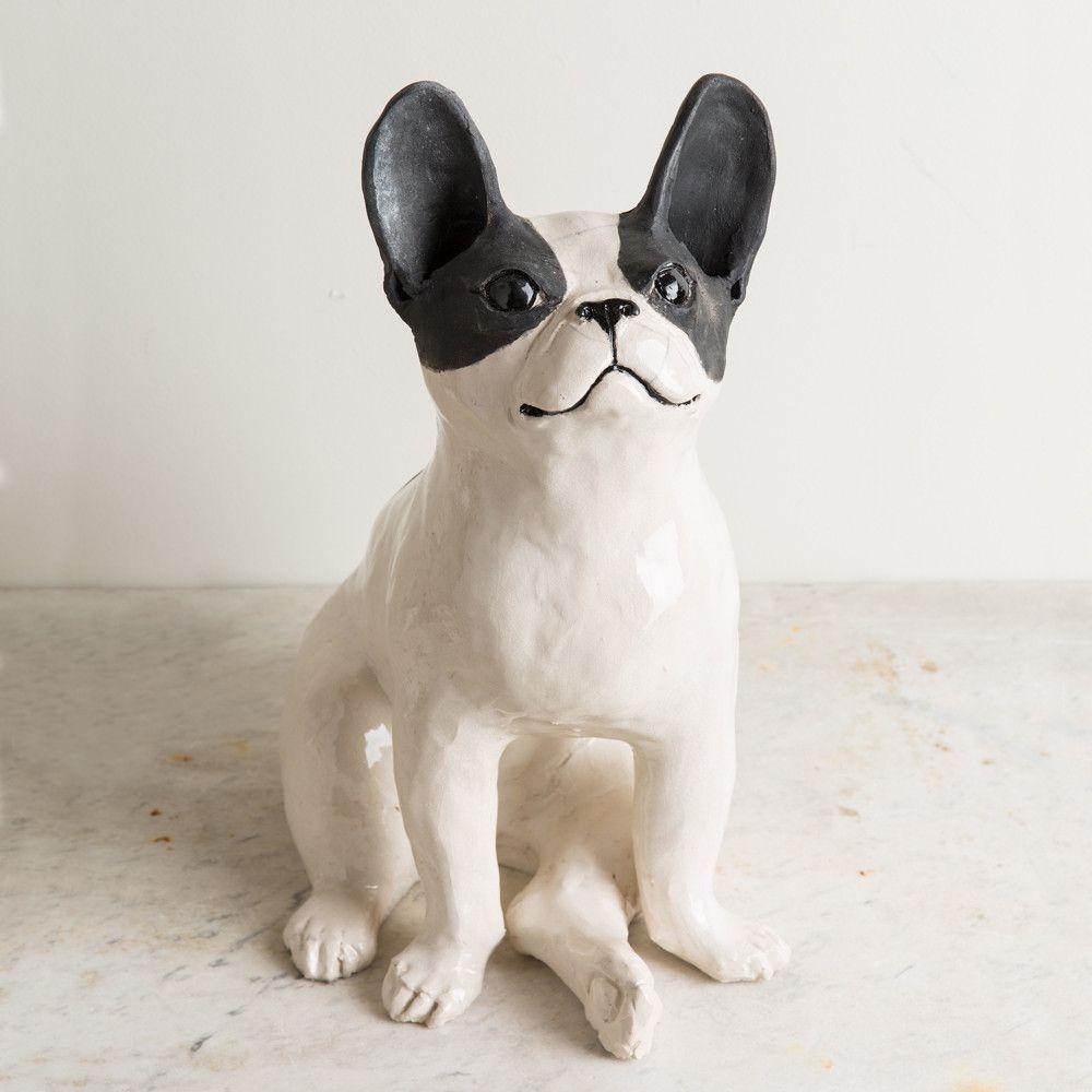 ceramic french bulldog, large French bulldog