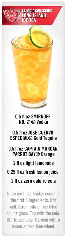 Calorie Conscious Long Island Iced Tea drink recipe with Smirnoff vodka, Jose Cuervo and Captain Morgan Parrot Bay