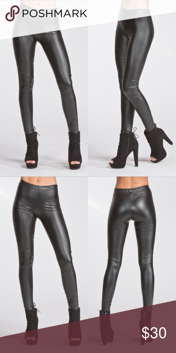 36645299d0e8e8 Matte finish vegan leather leggings Fitted legging. Elastic at waist. This  legging is made with heavyweight pleather fabric that has a smooth matte  finish, ...