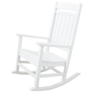 Ivy Terrace Classics White Patio Rocker Ivr100wh The Home Depot Rocking Chair Porch Outdoor Rocking Chairs Patio Rocking Chairs