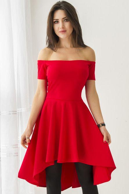 f91312a484c010 Czerwona sukienka z dłuższym tyłem i hiszpańskim dekoltem | Dresses ...