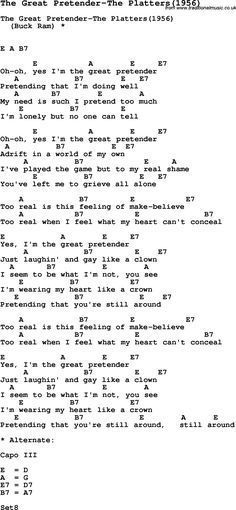 Song The Great Pretender-The Platters(1956), with lyrics for vocal ...