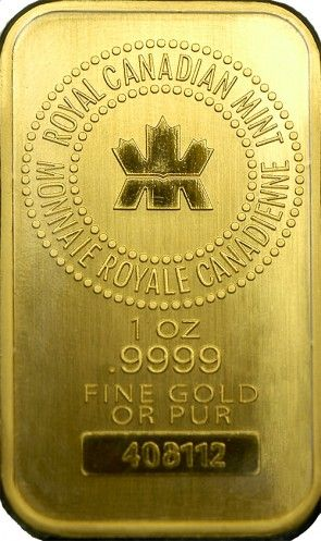 Royal Canadian Mint 1 Oz Gold Bar Obverse Gold Bullion Bars Gold Bullion Gold Money