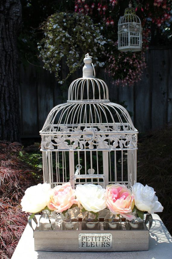 Love the Bird cage touch   vintage inspired shabby chic ♥ wedding decor/wedding card holder
