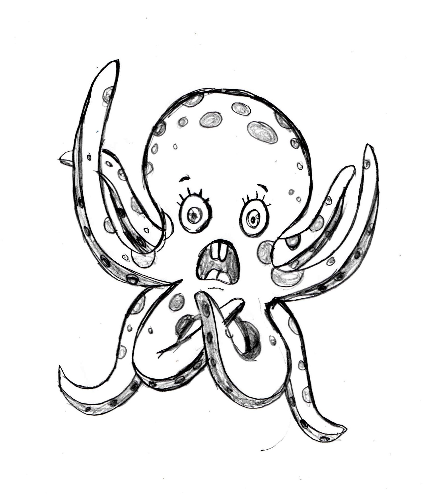 Octopus sketch, drawing tutorial