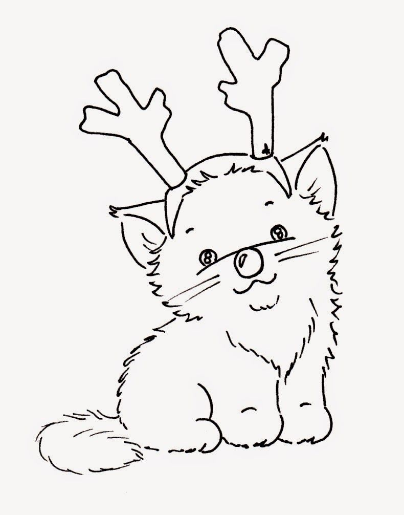 Sliekje digi Stamps: Christmas cats | Cat coloring page ...