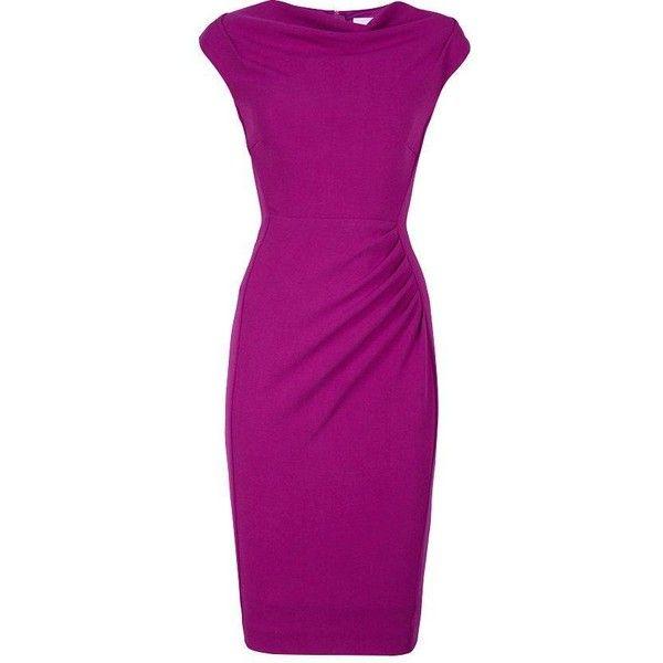 L.K. Bennett Lila Foldback Neckline Dress (4 040 ZAR) ❤ liked on Polyvore featuring dresses, purple, purple cocktail dress, cap sleeve dress, form fitting dresses, purple cap sleeve dress and form fitting cocktail dresses