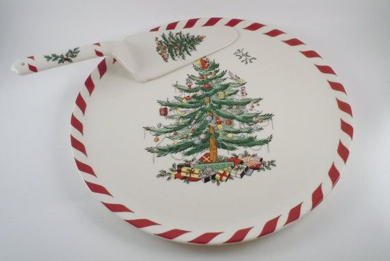 Spode Christmas Tree Peppermint Cake Plate (11) and Server