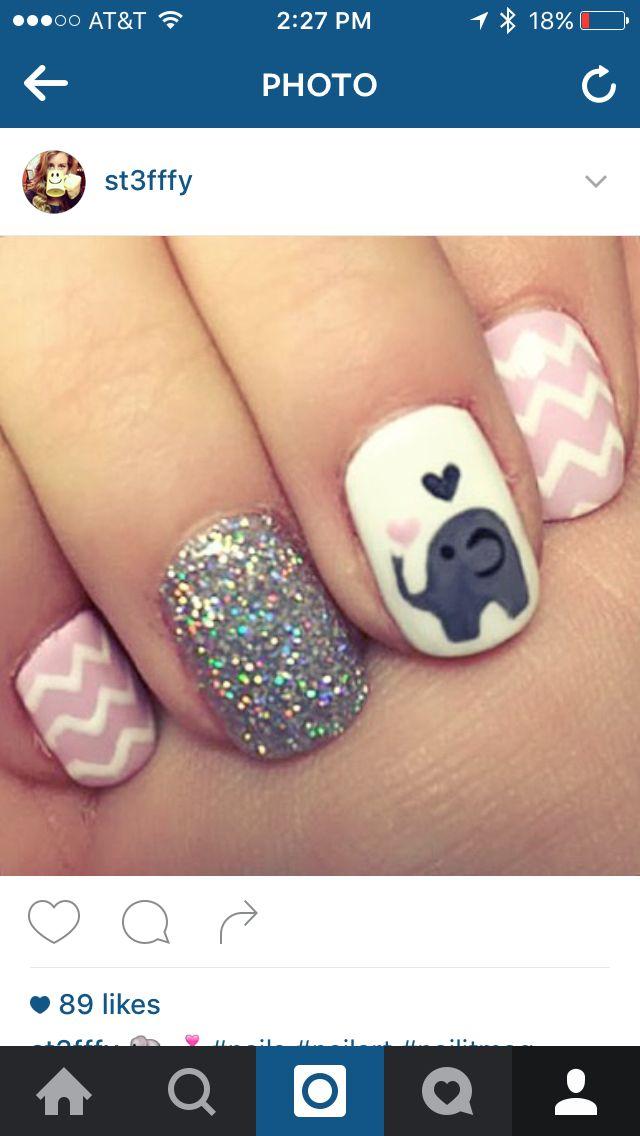 Baby Elephant Chevron Shellac Nails Elephant Nails Baby Nails Trendy Nails