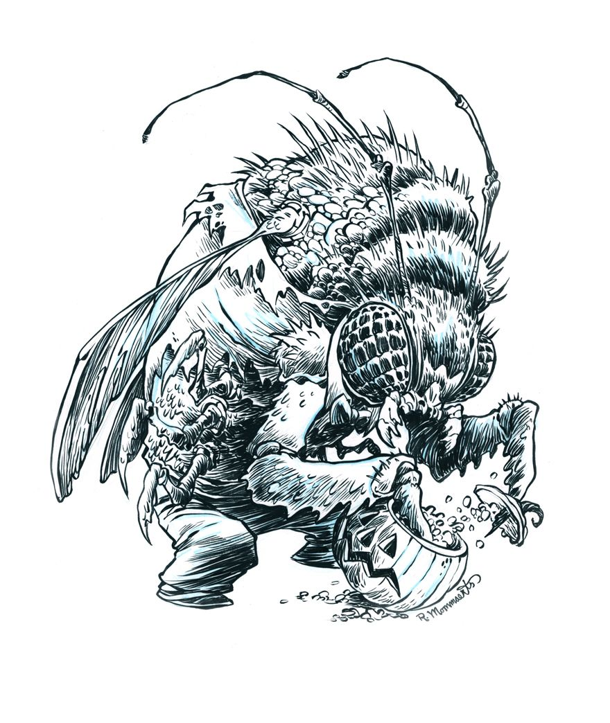 Inktober Bug Man 24 By Robbvision On Deviantart Inktober Monster Sketch Monster Pictures