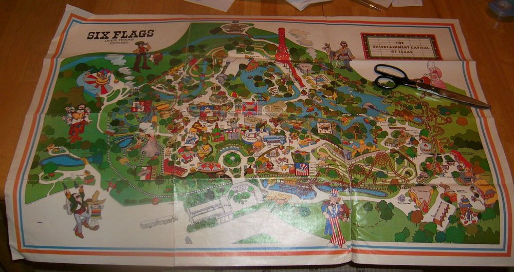 Vintage Six Flags Over Texas Map shows old rides! Lasalle\'s the ...