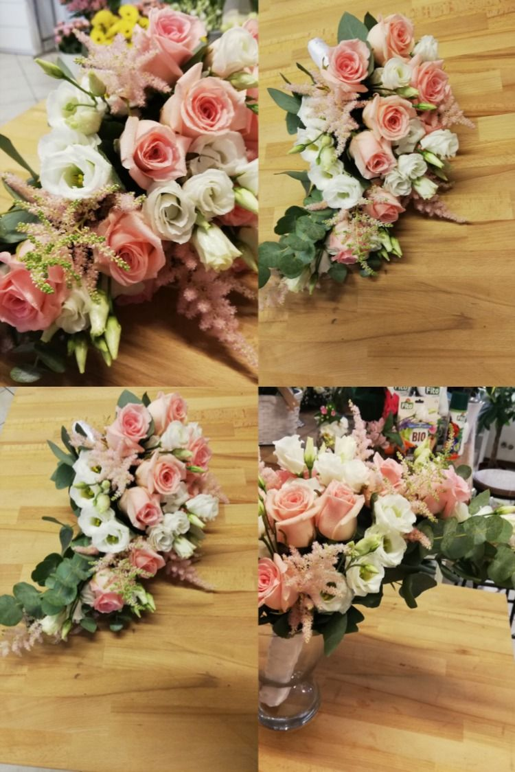 Bouquet Cadente Sposa.Bouquet Da Sposa Cadente Bianco E Rosa Con Rose Astilbe