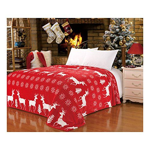 CaliTime Fluffy Fleece Red Xmas White Reindeer Snowflake Throw Awesome Red And White Christmas Throw Blanket