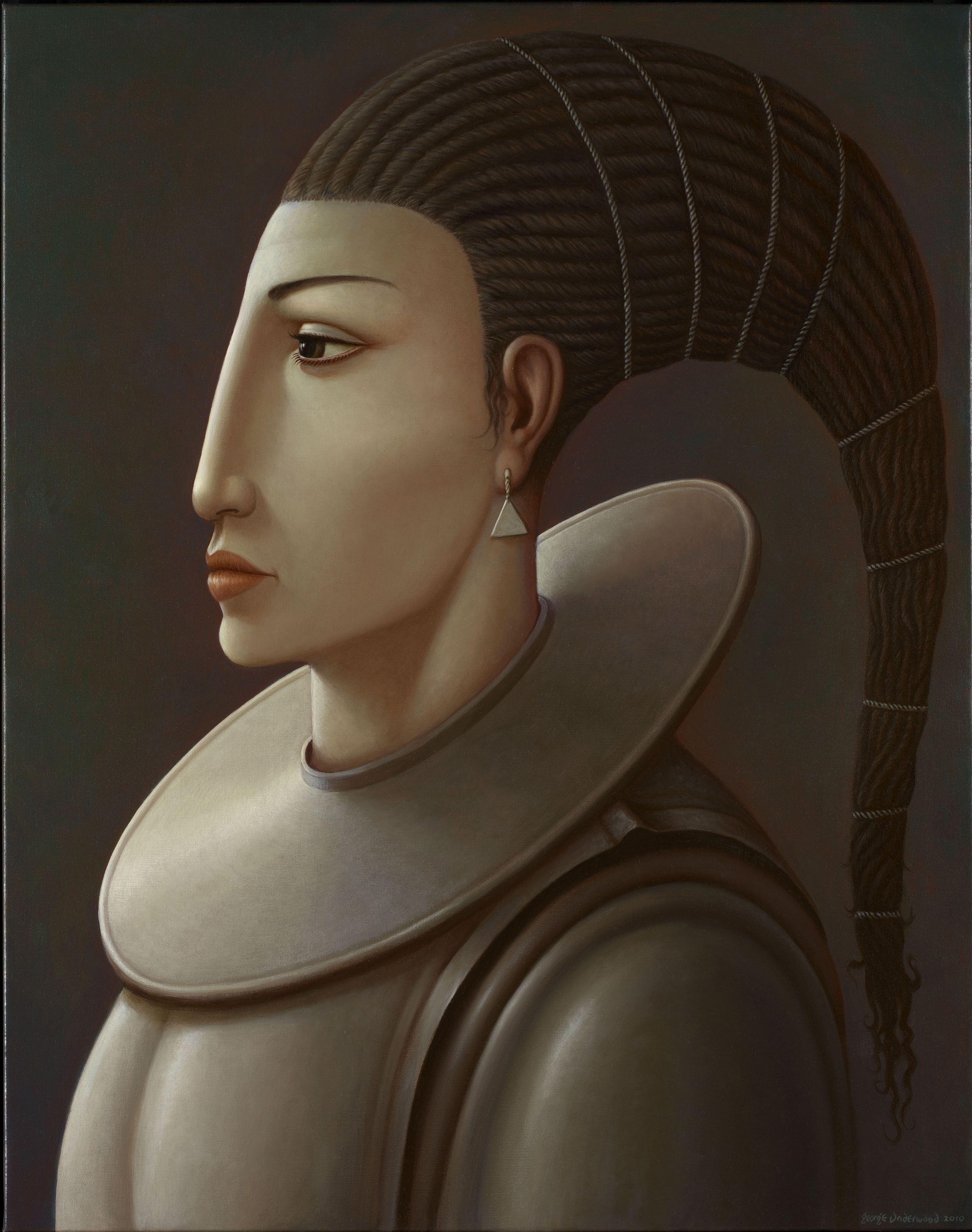George Underwood - British Surrealist Painter - Girl With Triangular Earring