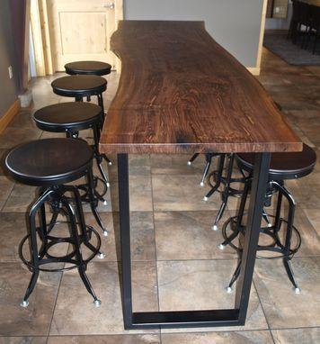 Cabana Custom Made Live Edge Walnut Bar Height Table