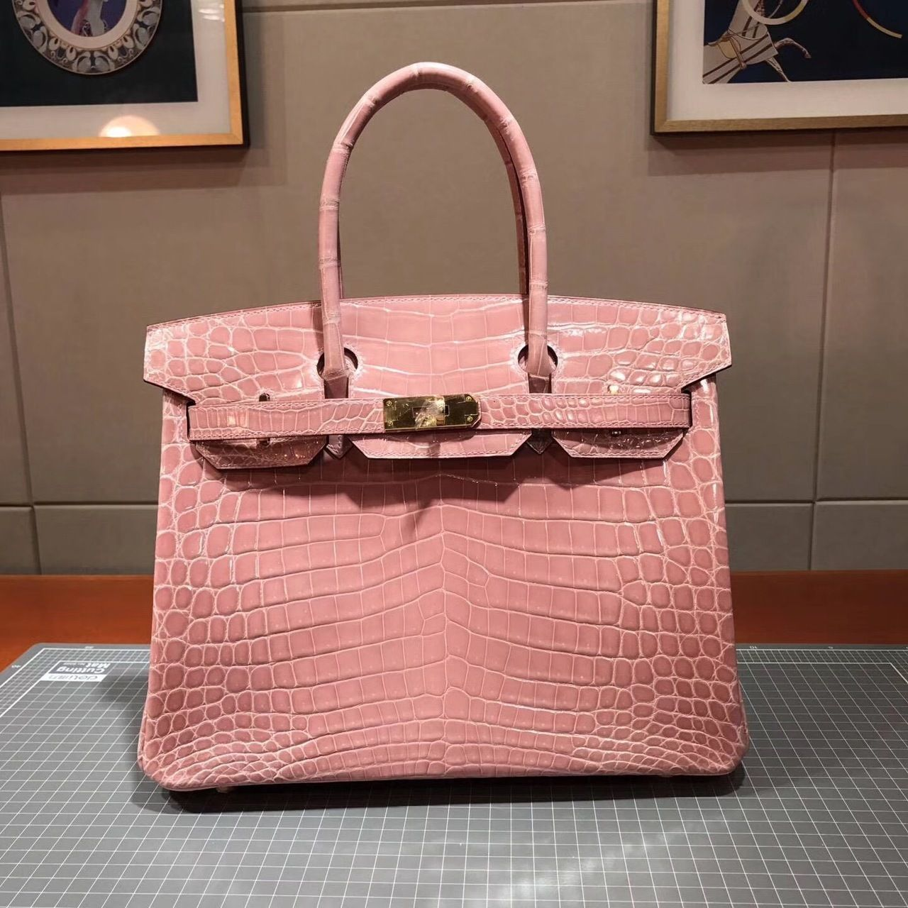 e8c91ce309 Hermes Birkin 30cm Shiny Niloticus Crocodile Skin Bag Handstitched  Palladium Hardware, Rose Sakura 3Q