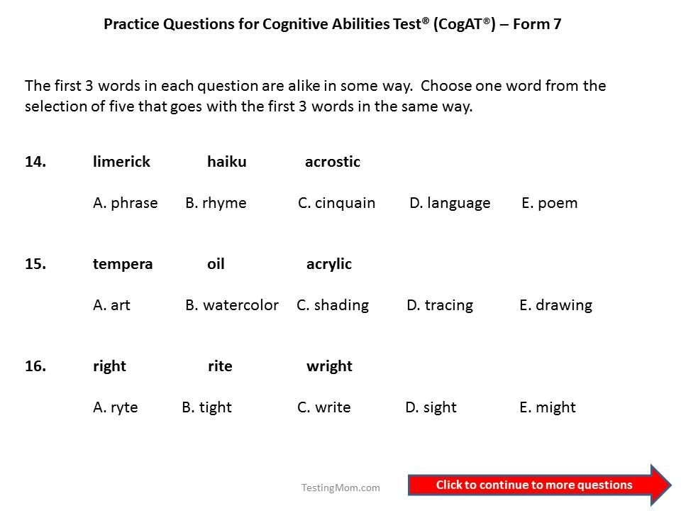 CogAT practice questions for 3rd to 4th grade | Education ...