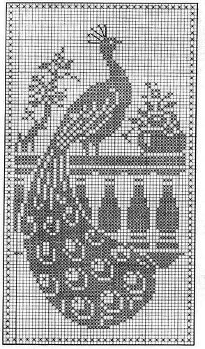 Filet Crochet Peacock Связаные крючком салфетки Схемы