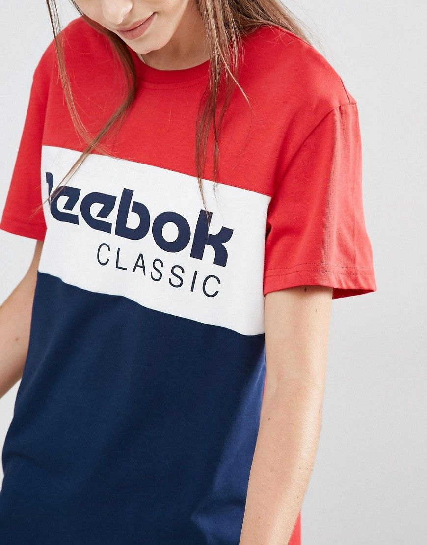 Image 3 of Reebok Classics Panel Logo Oversized T-Shirt In Red And Navy