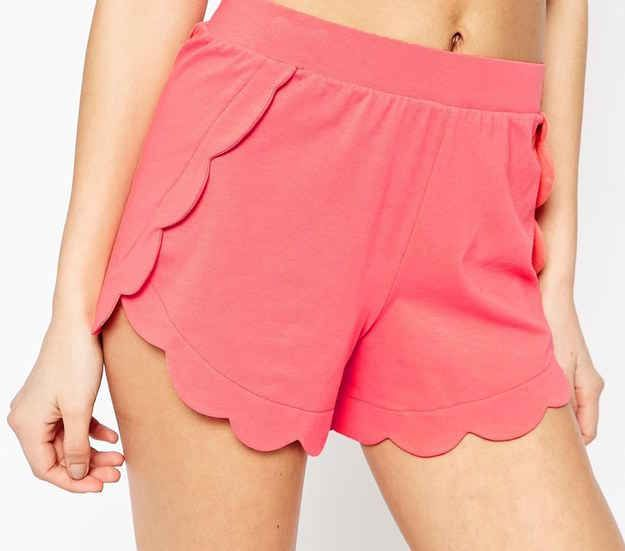 A pair of sweet scalloped shorts.