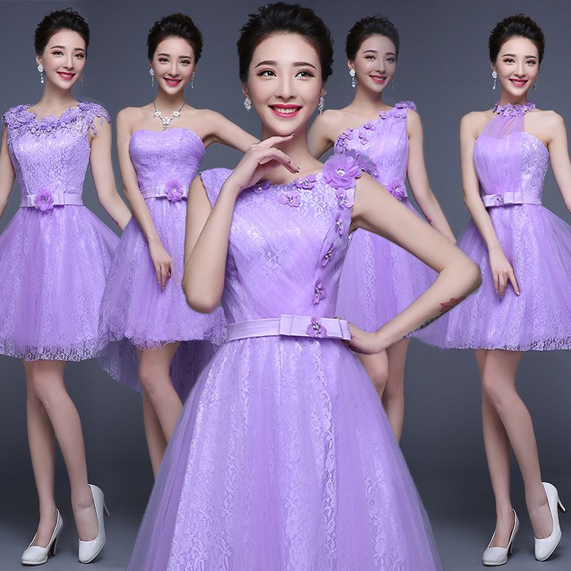 Lilac Lace Chiffon Adorable Knee Length Short Bridesmaid Dress ...