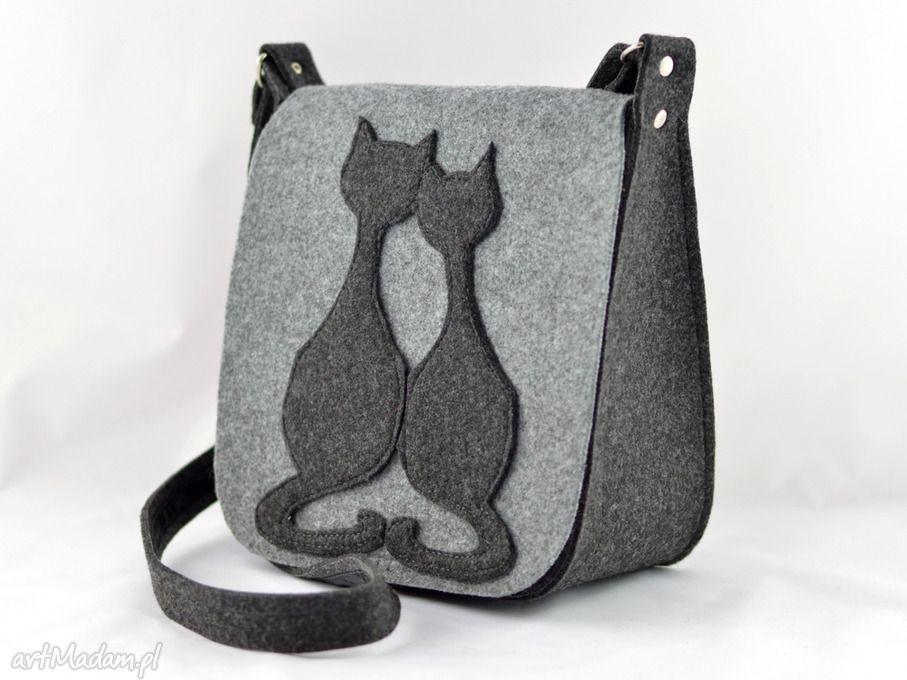 Na Ramie Torebki Torebka Filcowa Listonoszka Dwa Koty Green Felt Bag Bags Felted Handbags