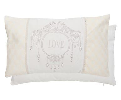 Cuscini Piccoli.Cuscino Arredo In Cotone Love Bianco E Avorio 35x50x15 Cm