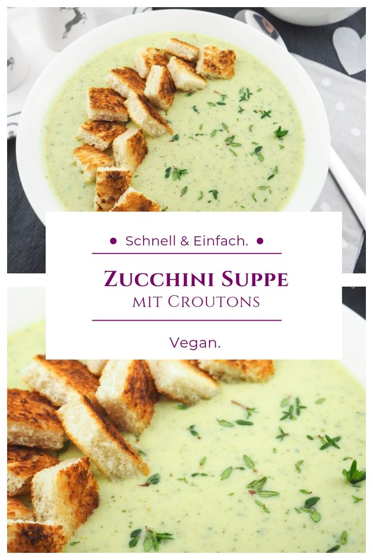 Photo of Creamy zucchini soup with crispy croutons (vegan)