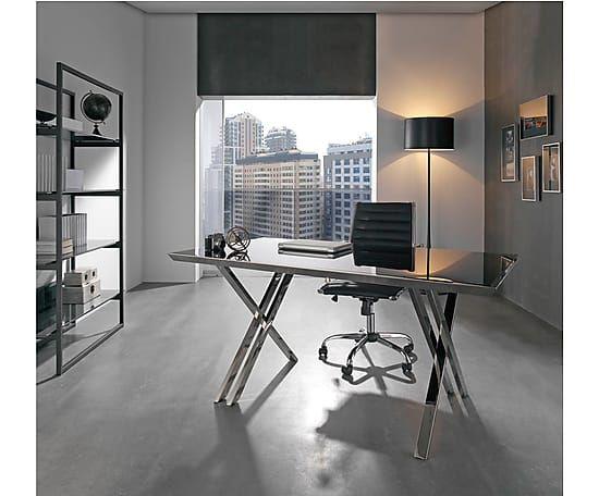 Mesa de oficina en cristal templado y acero inox i for Mesas de despacho modernas